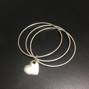 Tiffany & Co bangle bracelet with heart pendant